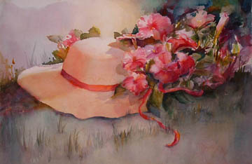 Straw Hat Watercolor Painting By Mary Redman Emerson