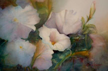 White Petunia Watercolor painting